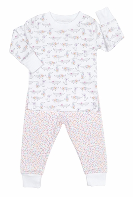 Kissy Kissy Baby Girls Pink Darling Dachshunds Dog Print Pajamas