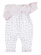 Kissy Kissy Baby Girls Pink Darling Dachshunds Dog Print Romper Playsuit