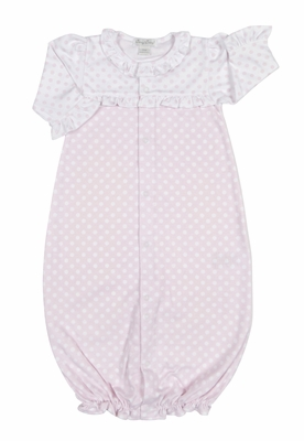 Kissy Kissy Baby Girls Pink Delectable Dots Ruffle Converter Gown