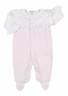 Kissy Kissy Baby Girls Pink Delectable Dots Ruffle Footie