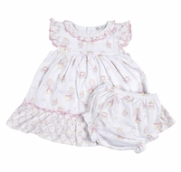 Kissy Kissy Baby Girls Pink Fairy Tale Princess Dress with Diaper Cover
