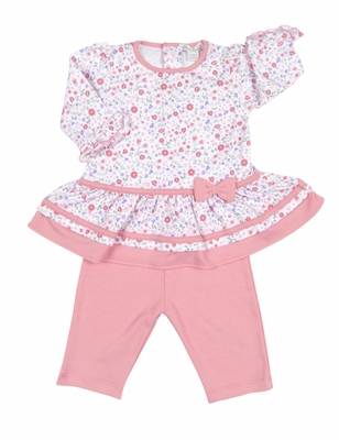 Kissy Kissy Baby Girls Pink Fall Blossoms Floral Dress with Leggings