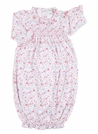 Kissy Kissy Baby Girls Pink Fall Blossoms Floral Smocked Gown