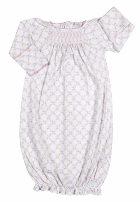Kissy Kissy Baby Girls Pink Floral Trellis Smocked Sack Gown