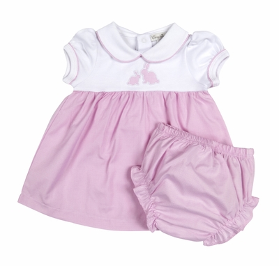 Kissy Kissy Baby Girls Pink Gingham Cottontail Easter Bunny Dress with Diaper Cover