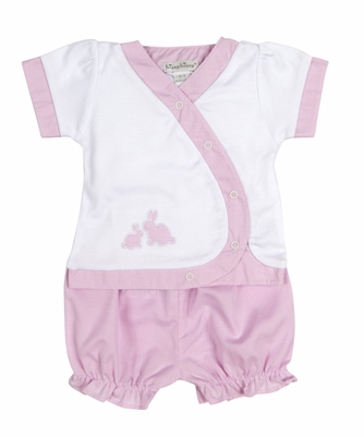 Kissy Kissy Baby Girls Pink Gingham Easter Bunny Diaper Set