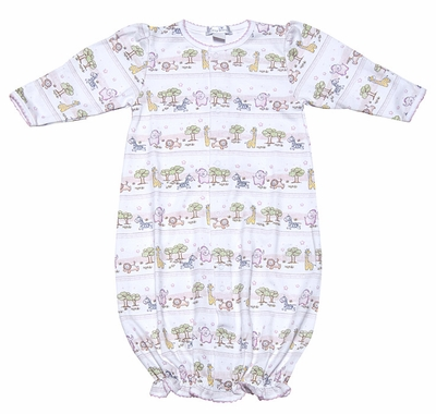 Kissy Baby Girls Pink Noah\'s Ark Animals Print Convertible Gown