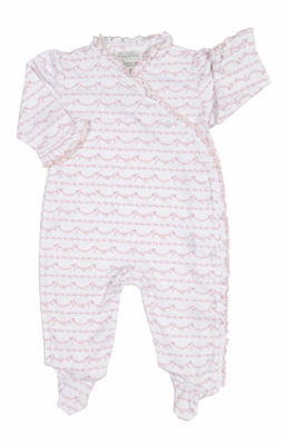 Kissy Kissy Baby Girls Pink Scallop Bows Print Ruffle Crossover Footie