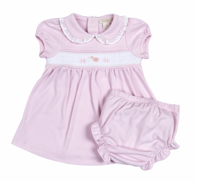 Kissy Kissy Baby Girls Pink Smocked Baby Lamb Dress with Diaper Cover