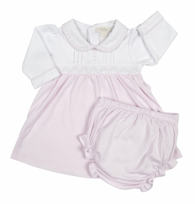 Kissy Kissy Baby Girls Pink Smocked Timeless Dress with Diaper Cover