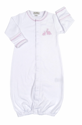 Kissy Kissy Baby Girls Pique Cottontails Easter Bunny Converter Gown - White with Pink