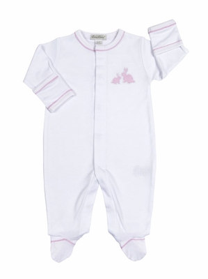 Kissy Kissy Baby Girls Pique Cottontails Easter Bunny Footie - White