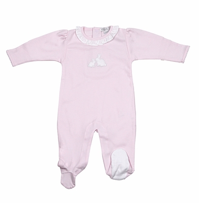 Kissy Kissy Baby Girls Pique Cottontails Easter Bunny Footie with Ruffle - Pink