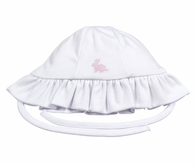 Kissy Kissy Baby Girls White Pique Cottontails Easter Bunny Floppy Hat