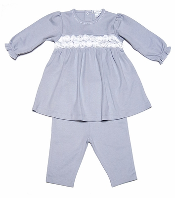 Kissy Kissy Baby Girls Silver / White Winter Roses Dress with Leggings
