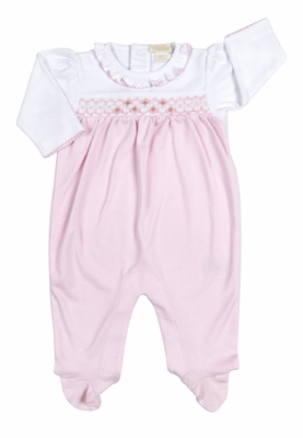 Kissy Kissy Baby Girls Smocked Summer Footie with Ruffle Neck - Pink