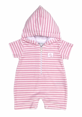 Kissy Kissy Baby Girls Wee Whales Striped Terry Hooded Beach Cover Up Romper - Pink