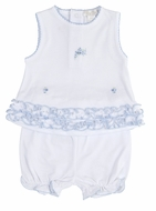 Kissy Kissy Baby Girls White / Blue Embroidery Enchanted Garden Bloomers Set