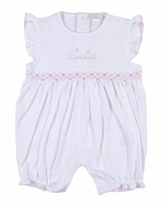 Kissy Kissy Baby Girls White Bubble - Smocked in Pink with Embroidery Whale
