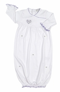 Kissy Kissy Baby Girls White Fleur de l'Amour Sack Gown - Lilac Heart