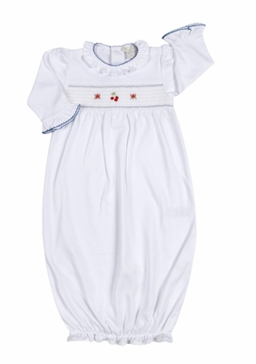 Kissy Baby Girls White Smocked Red Cherry Splendor Sack Gown