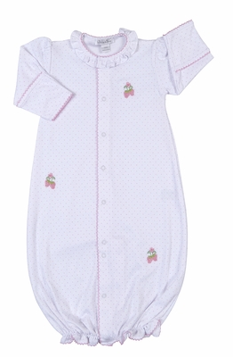 Kissy Kissy Baby Girls White / Pink Dots Embroidered Strawberry Converter Gown