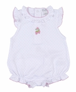 Kissy Kissy Baby Girls White / Pink Dots Embroidered Strawberry Ruffle Bubble