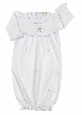 Kissy Kissy Baby Girls White Rose Bows Sack Gown - Blue Bow