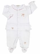 Kissy Kissy Baby Girls White Ruffle Footie - Rose Bows - Pink