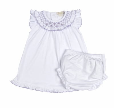 Kissy Kissy Baby Girls White Summer Bishop Dress with Diaper Cover - Smocked in Lilac