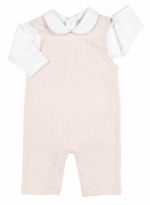 Kissy Kissy Baby Girls Cable Couture Jacquard Overall Set with Collar - Pink
