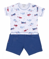 Kissy Kissy Baby / Toddler Boys Blue Sea Shenanigans Shark Print Shorts Set