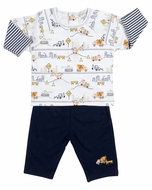 Kissy Kissy Baby / Toddler Boys Construction Trucks Print Shirt with Navy Blue Pants