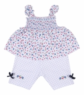 Kissy Kissy Baby / Toddler Girls Petite Cerise Blue Dots Capri Pants with Smocked Floral Top