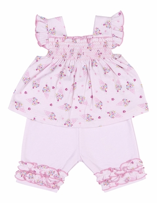 Kissy Kissy Baby / Toddler Girls Pink Smocked Cherry on Top Ice Cream Cones Capri Pants Set