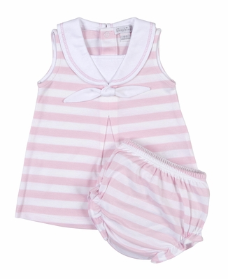 Kissy Kissy Baby / Toddler Girls Pink Striped Sailor Suit Dress - Infants Include Diaper Cover