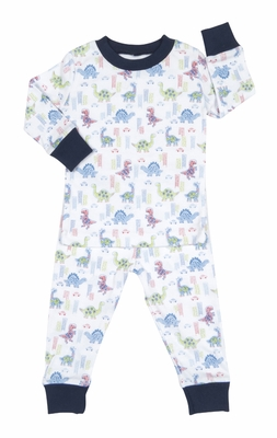 Kissy Kissy Boys Blue and Primiary Colors Downtown Dinosaurs Print Pajamas