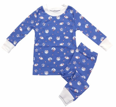 Kissy Kissy Boys Blue Football Print Pajamas