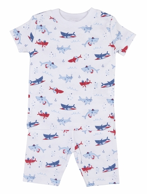 Kissy Kissy Boys Blue / Red Sea Shenanigans Shark Print Pajamas