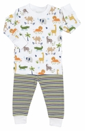 Kissy Kissy Boys Green / Orange Stripes Jungle Jaunt Animals Print Pajamas