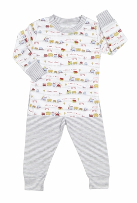 Kissy Kissy Boys Striped Red Caboose Trains Print Pajamas