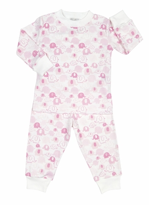 Kissy Kissy Girls Endearing Elephants Print Pajamas - Pink
