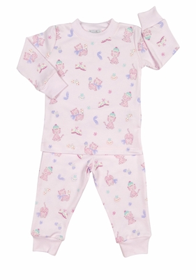 Kissy Kissy Girls Pink Kitty Cats Print Pajamas