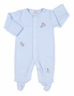 Kissy Kissy Infant Boys Blue Stripe Embroidered Dogs Footie