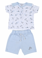 Kissy Kissy Infant Boys Blue Stripe Shorts with Dog's Day Out Print Shirt