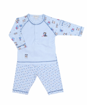 Kissy Kissy Infant Boys Blue Sweater Weather Puppy Dog Pants Set