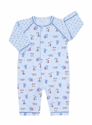 Kissy Kissy Infant Boys Blue Sweater Weather Puppy Dog Print Playsuit