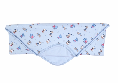 Kissy Kissy Infant Boys Blue Sweater Weather Puppy Dogs Print Receiving Blanket