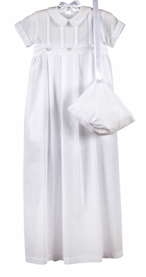 Kissy Kissy Infant Boys Brayden Christenting Gown with Hat - Converts to Romper