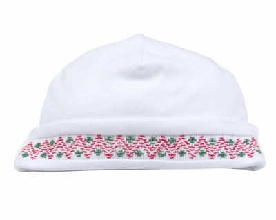 Kissy Kissy Infant Boys / Girls Holiday Hat - White Smocked in Red & Green